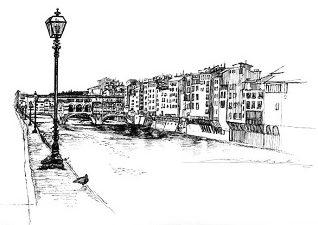 Firenze・アルノ河とヴェッキオ橋 / 画 望月麻里 illustrated by (C) Mari Mochizuki.