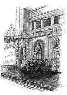 Citta del Vaticano・ヴァチカン宮庭園の泉 / 画 望月麻里 illustrated by (C) Mari Mochizuki.