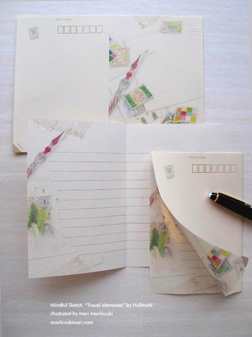 はがき手紙・トラベル メモリーズ・日本ホールマーク(5枚入)/ 原画 望月麻里 Travel Memories by Hallmark. Illustrated by Mari Mochizuki 【No.EES-709327:400JPY・400円 】