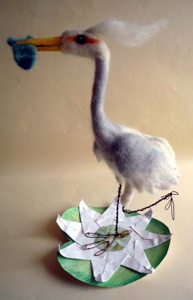 Felted Crane With Fish © Jan Lane