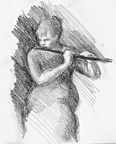 Catherine McEvoy playing the flute. She looks demure, but her music is powerful.