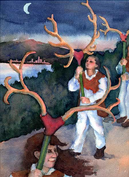 Abbots Brumley Horn Dance (Thaxted version)  Watercolor on Arches paper