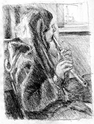 Girl playing flute Graphite value study