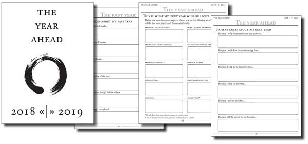 Year compass booklet used for year reflection and goal planning
