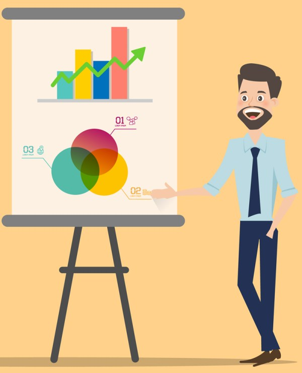 Cartoon picture of a man in shirt and tie pointing to a flip chart with a bar chart and ven diagram.