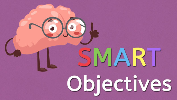 Goal Achievement programme part 3: SMART objectives text with a brain with eyes, glasses and arms