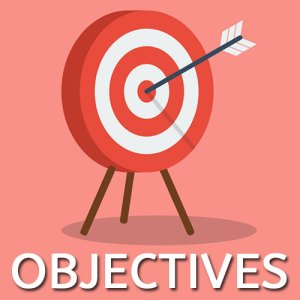 """red and white target with an arrow with the word """"objectives"""""""