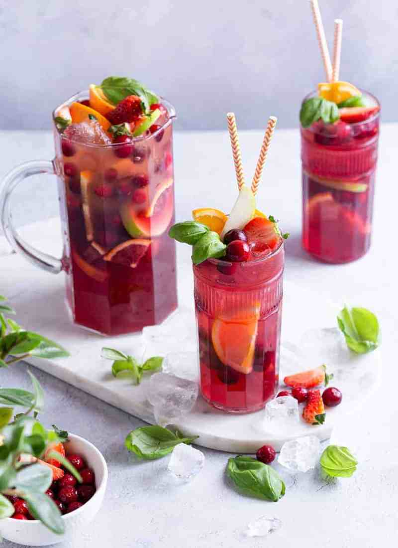 Cranberry Basil Sangria - Non-Alcoholic Mixed Drinks - Easy Drinks Recipes