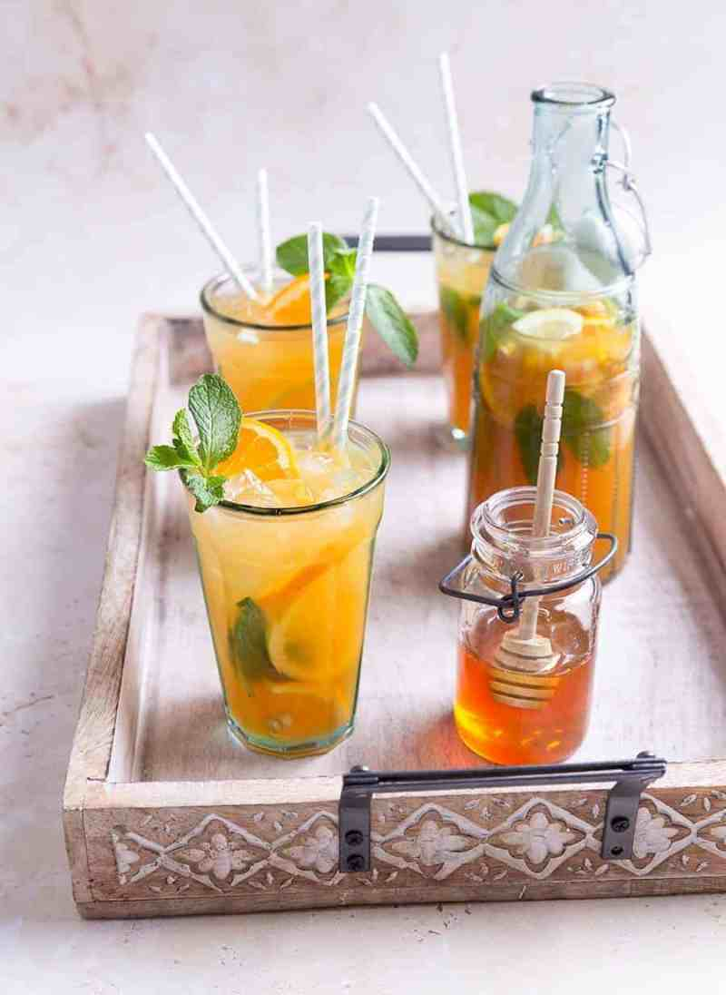 Mint Tea Punch Recipe - Juice Recipes Online - Fruit Juices Online