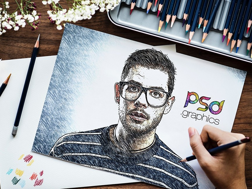Sketch Effect Psd Mockup Mockup Love