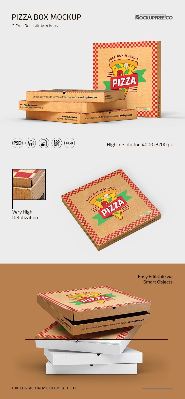 Download Free Pizza Box Mockup in PSD | Download