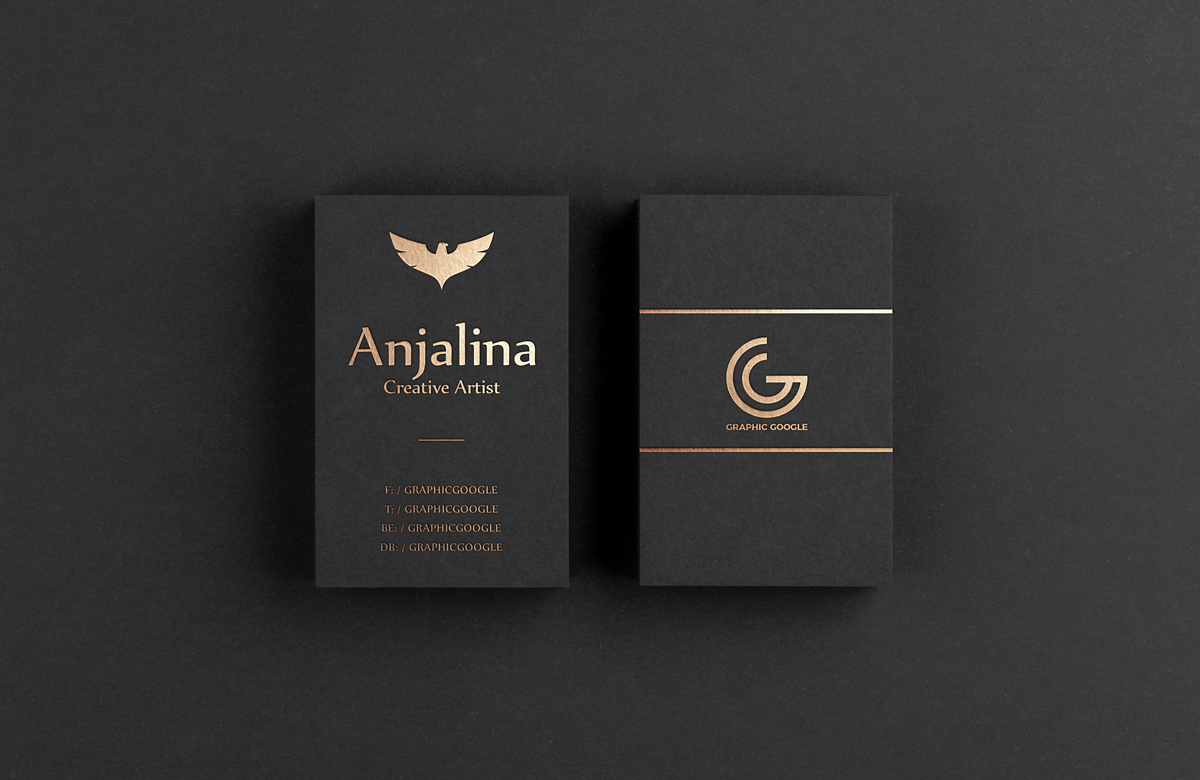 Gold Foil Business Card Mockup Psd Template Mockup Free
