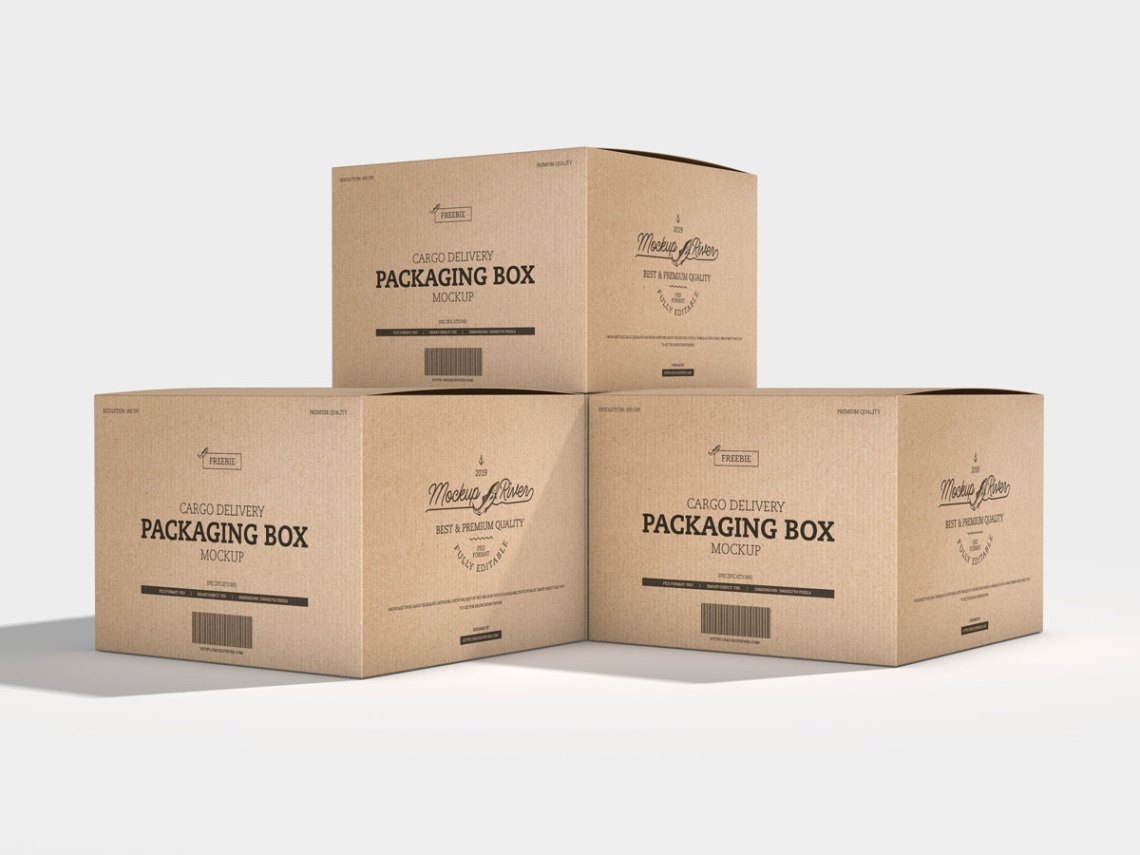 Download Free Cargo Delivery Packaging Box Mockup Design - Mockup ...