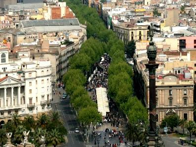 Barcelona famous street Las ramblas