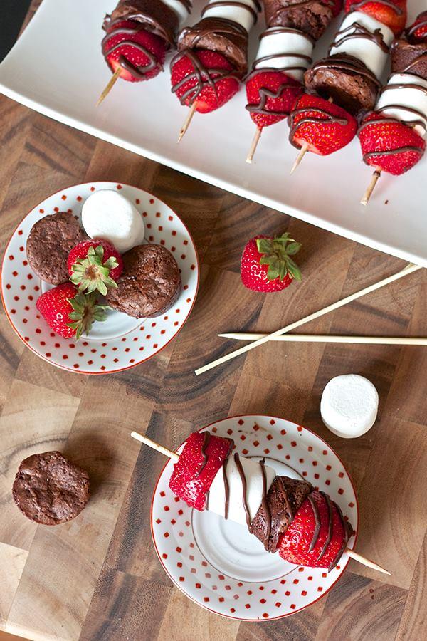 Strawberry Brownie Kabobs Moco Choco