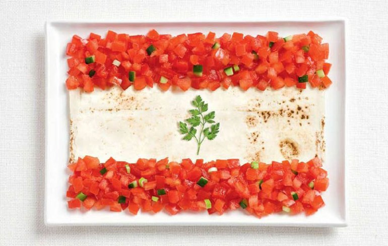 national flags made from each country's traditional foods, Lebanon