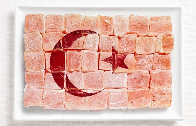 national flags made from each country's traditional foodsTurkey