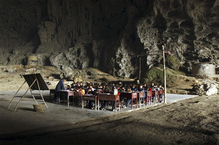 unusual Mao cave school in Ziyun County, China