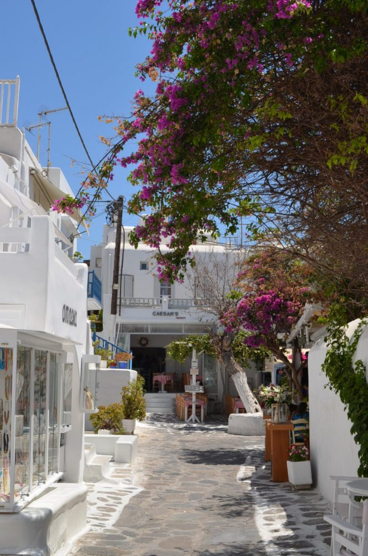 interesting things to see in Greek island Mykonos, cobbled street 2