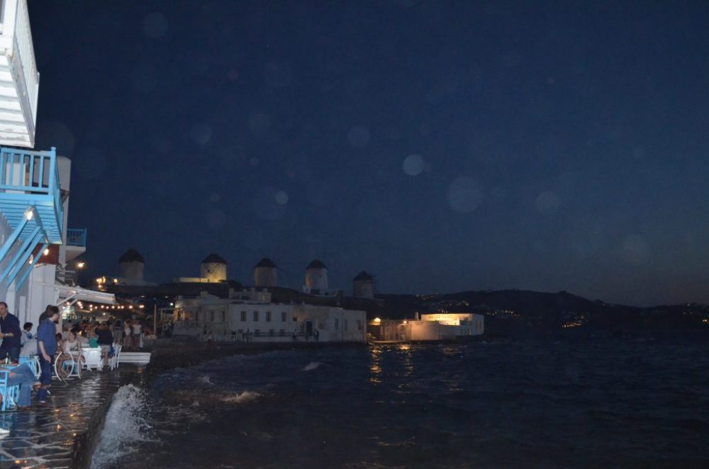 interesting things to see in Greek island Mykonos, windmills by night