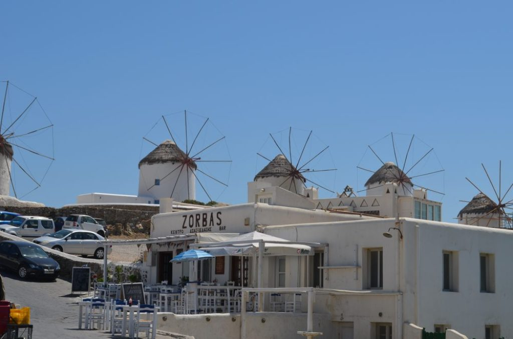 interesting things to see in Greek island Mykonos, windmills