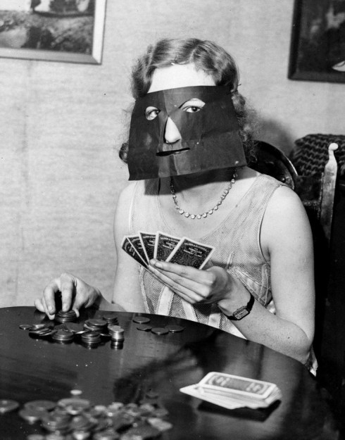 strange old timey inventions, poker mask