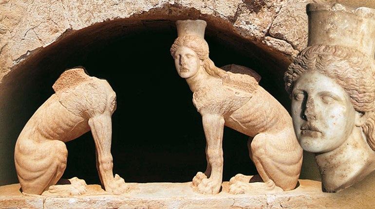 Interior of the tomb in Amphipolis, head of sphinx 2