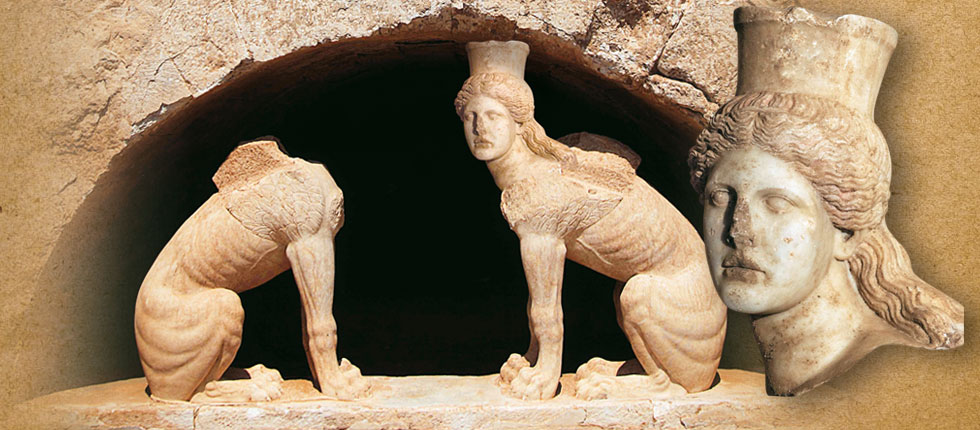 Interior of the tomb in Amphipolis, head of sphinx 2
