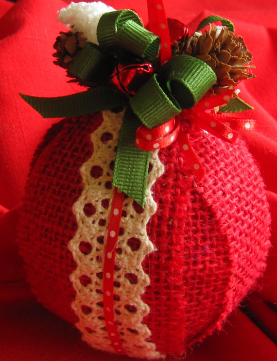 diy christmas ornament, red burlap