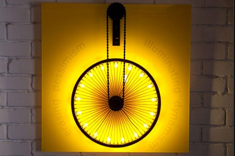 innovative lighting art, yellow wheel light