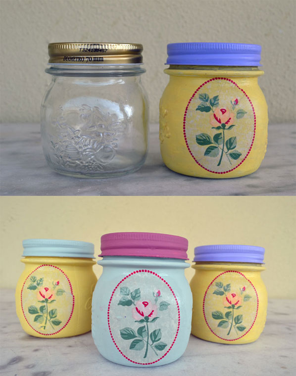 painted summer jars with decoupage technique 7