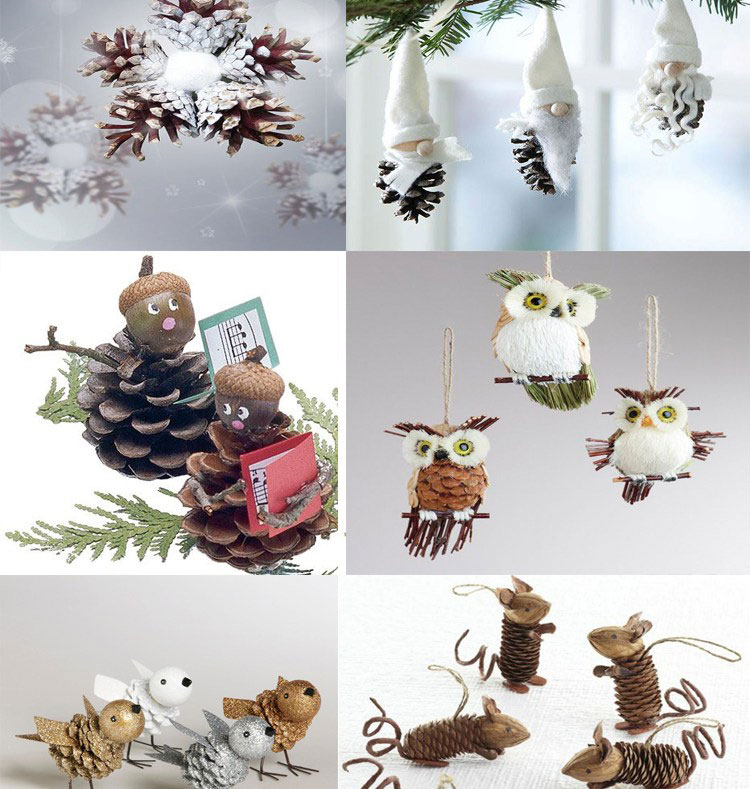 holiday homemade pinecone xmas ornaments 37 - Homemade Pine Cone Christmas Decorations