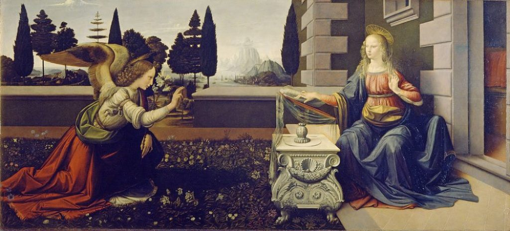 art history, the earliest paintings done by famous painters, Annunciation