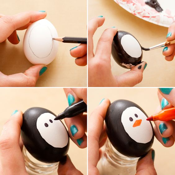 fun ways to dye easter eggs, penguin
