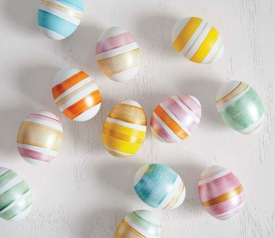 fun ways to dye easter eggs, striped