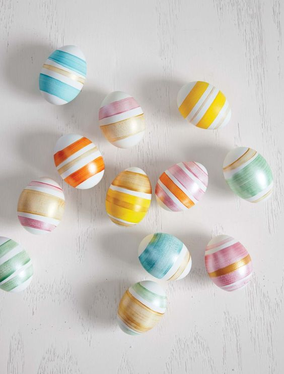 fun ways to dye easter eggs, striped