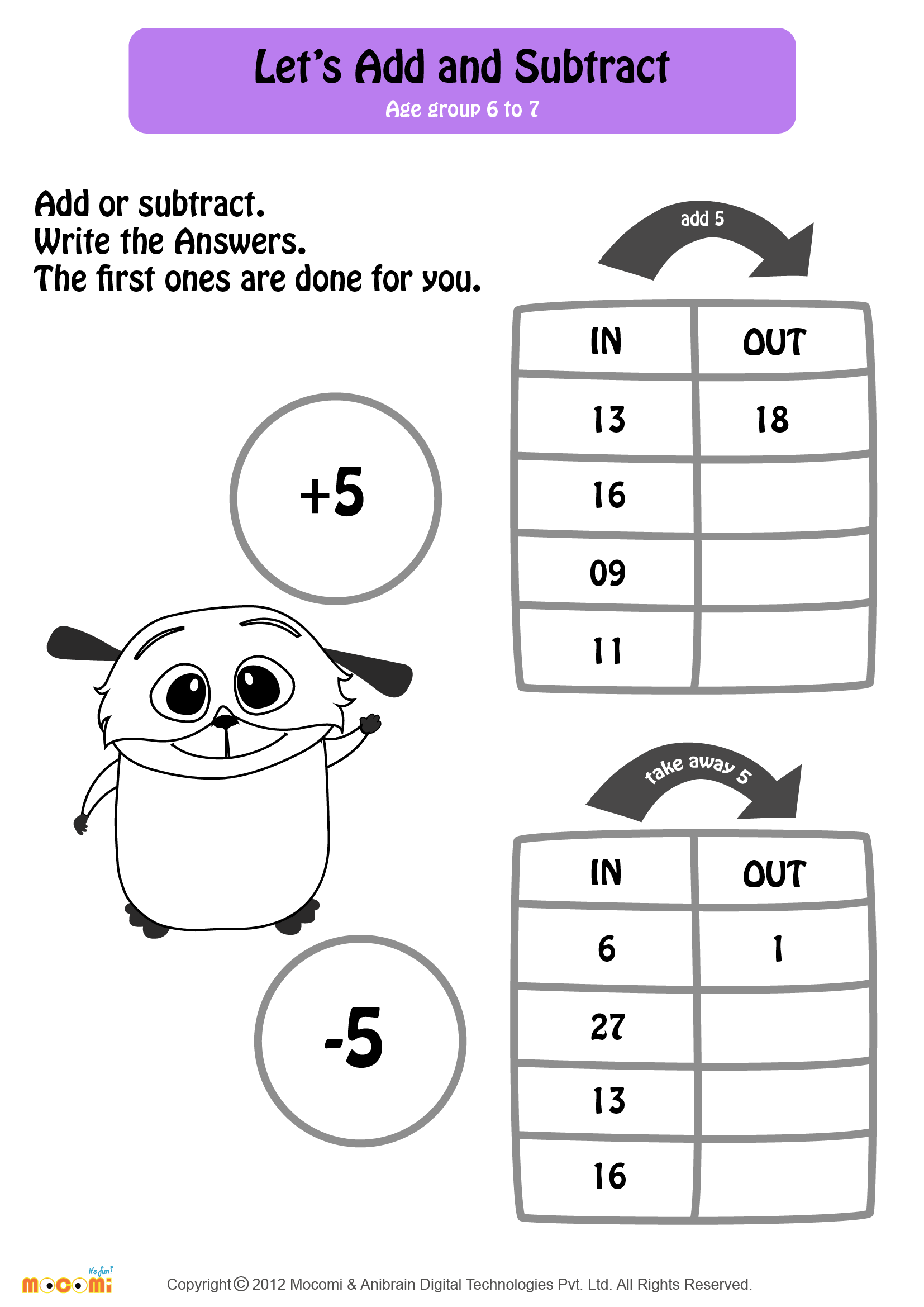 Add And Subtract Worksheet