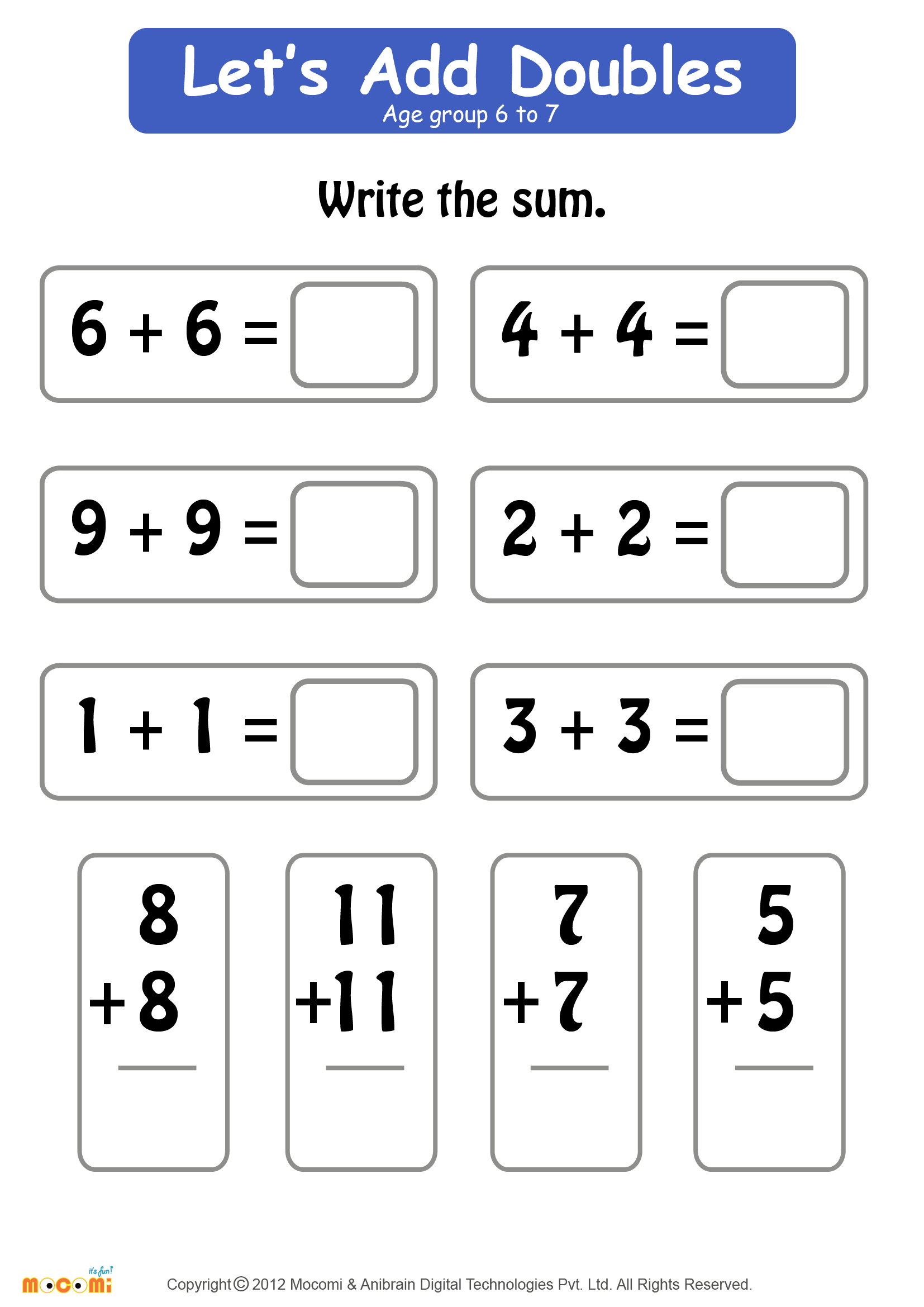 Add Doubles Worksheet
