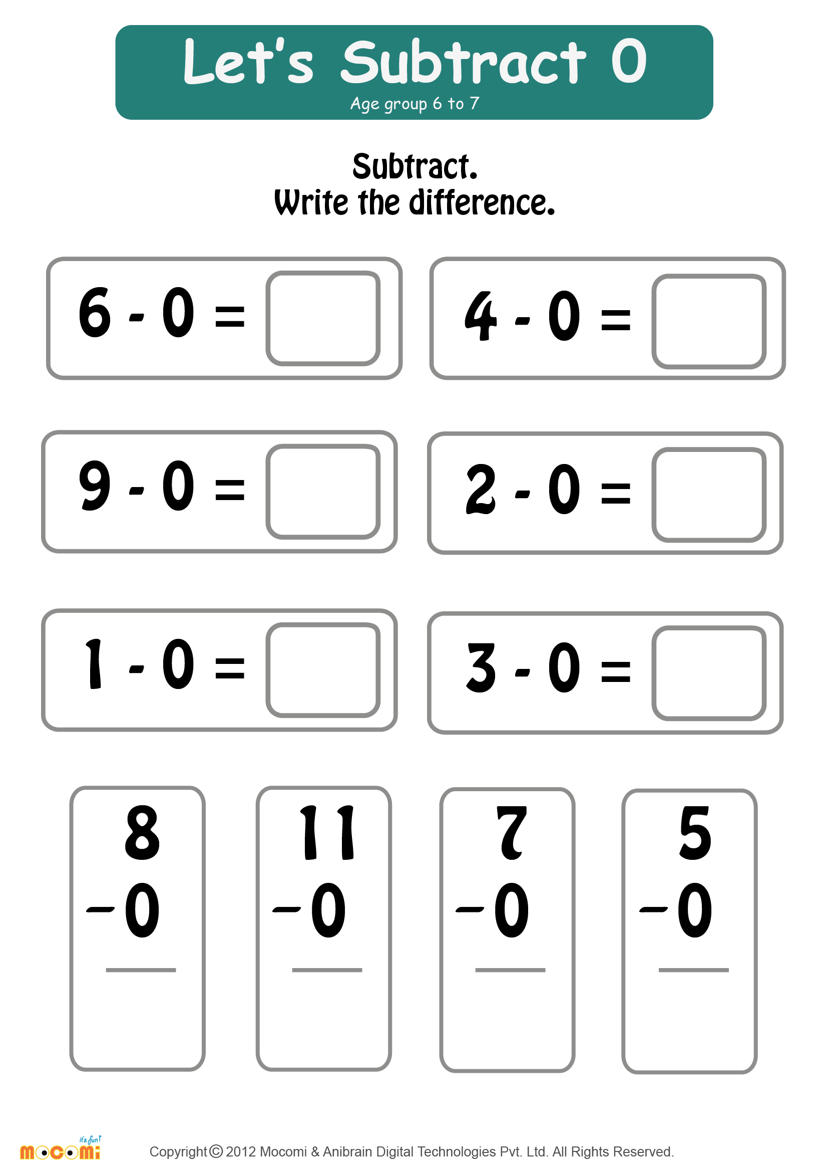 Subtract Zero Worksheet