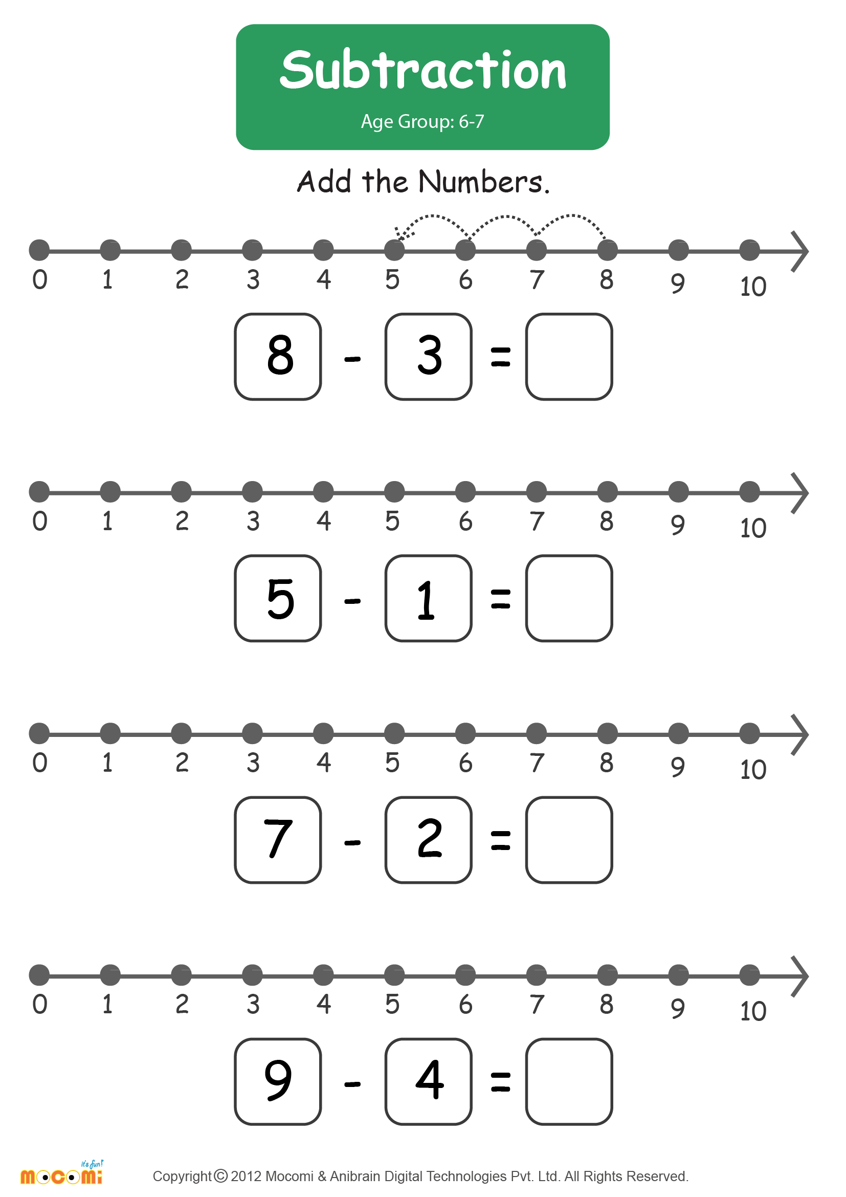 Subtraction Worksheet 01