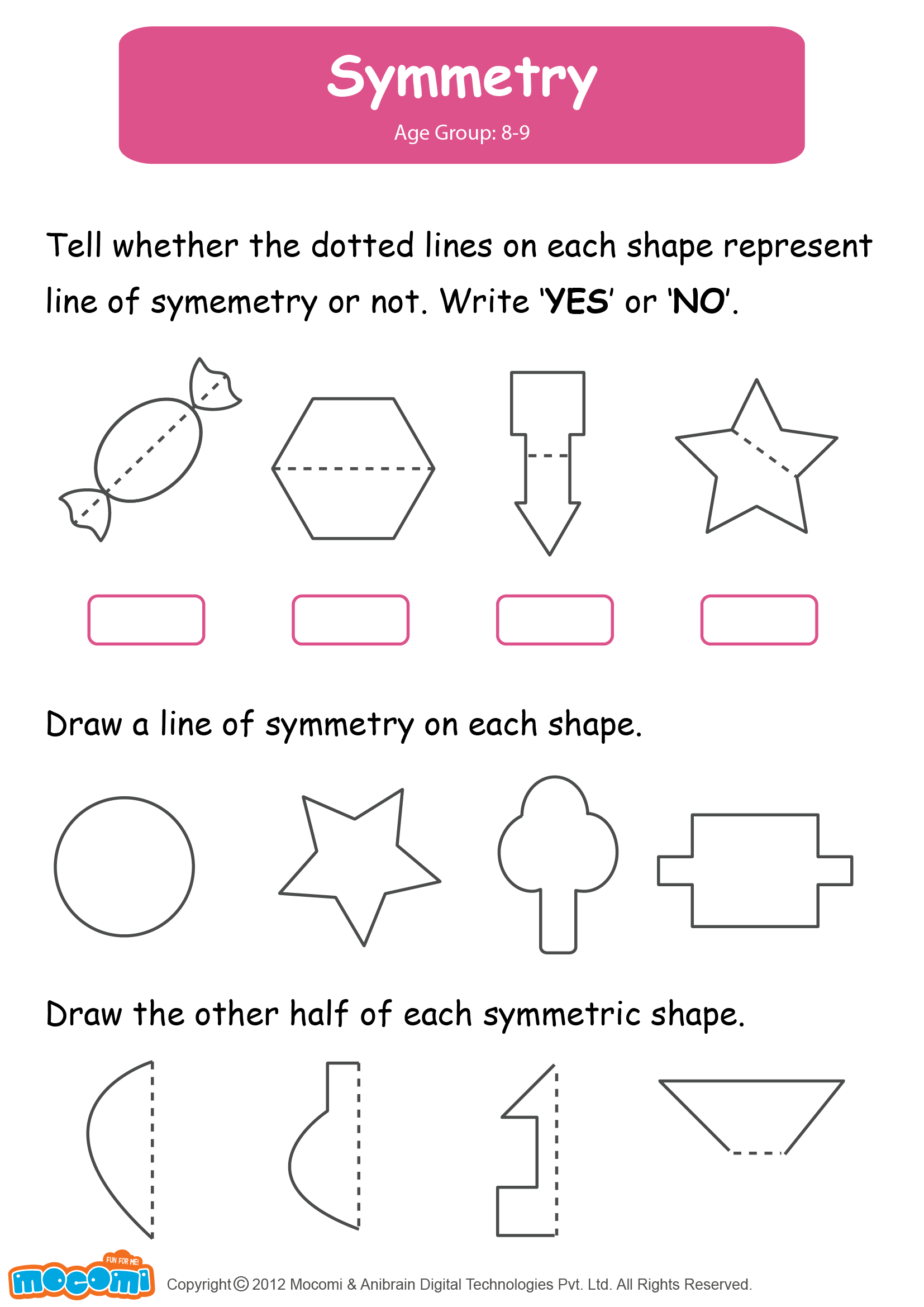 Symmetry Worksheet For Kids