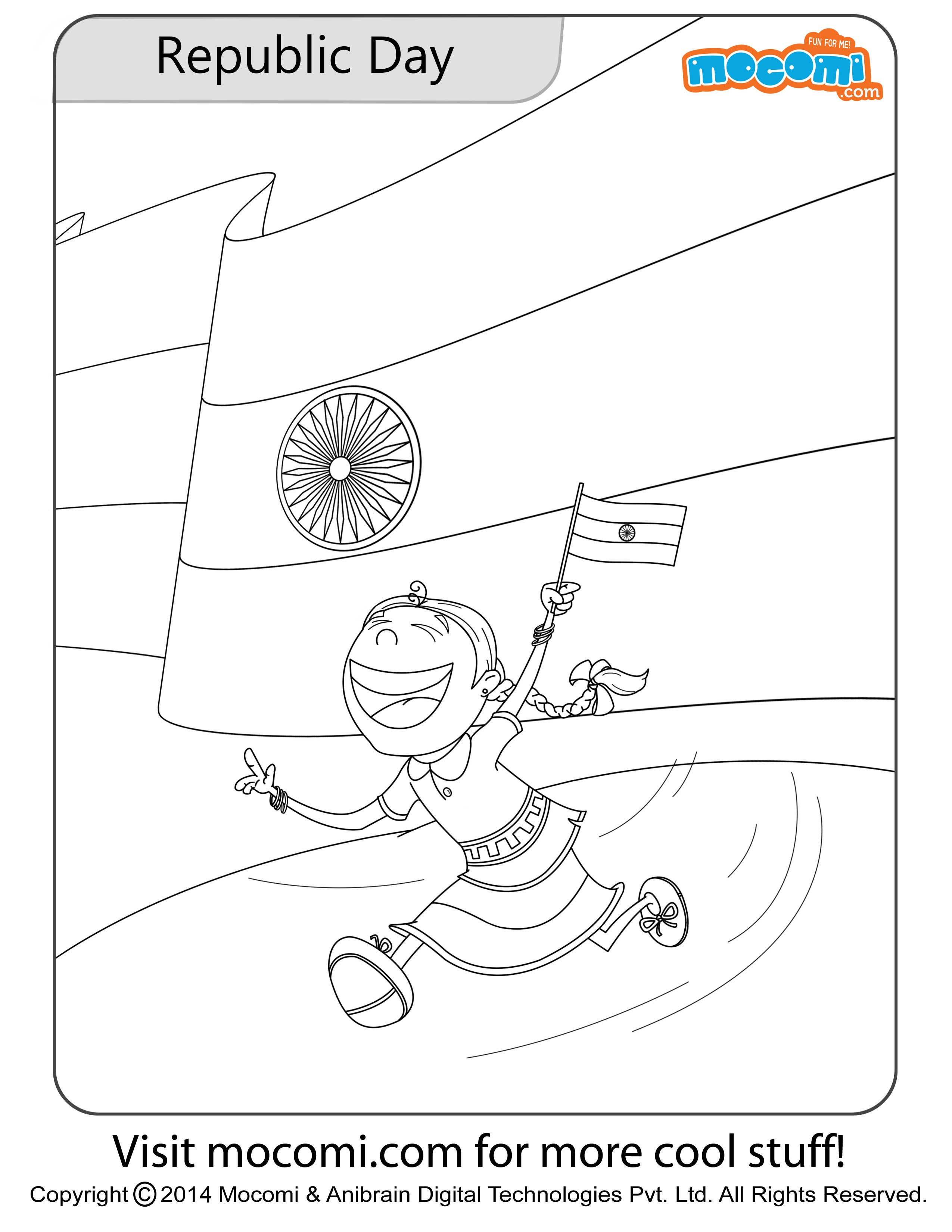 Pinky Republic Day Colouring Page