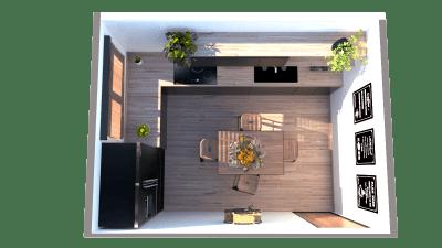 Image montrant une cuisine industrielle modélisée en 3D en rendu réaliste vue 1