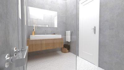 Image montrant une salle de bain déco brut modélisée en 3D en rendu réaliste vue 2