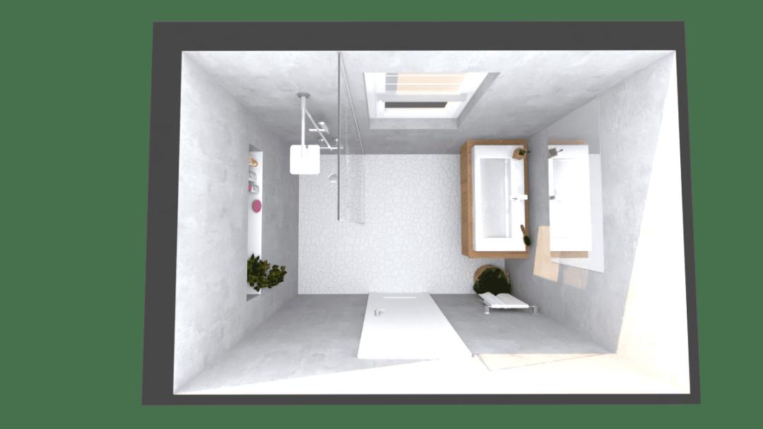 Image montrant une salle de bain déco brut modélisée en 3D en rendu réaliste vue de haut