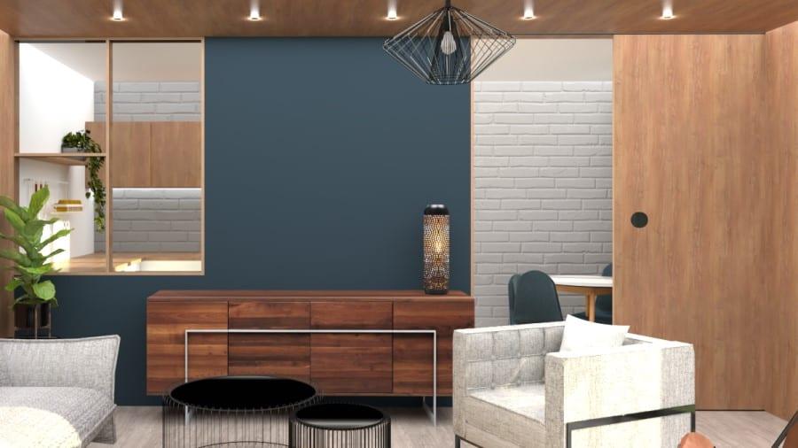 Image montrant la modélisation 3D en rendu réaliste d'un salon qui donne sur une cuisine semi-ouverte
