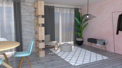 Image montrant un salon modélisée en 3D en rendu réaliste vue 1