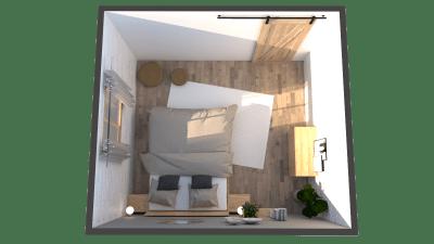 Image qui montre une chambre modélisée en 3D avec des meubles éco-responsables vu de haut