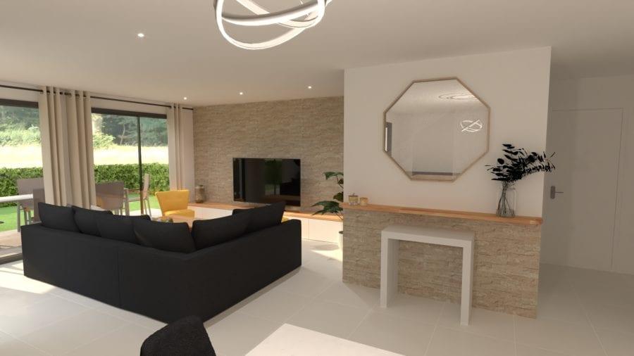 Image qui montre une vue de la modélisation 3D d'un salon moderne contemporain