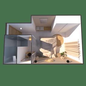 Image montrant une vue de haut d'une chambre bohème chic modélisée en 3D pour de la décoration intérieure